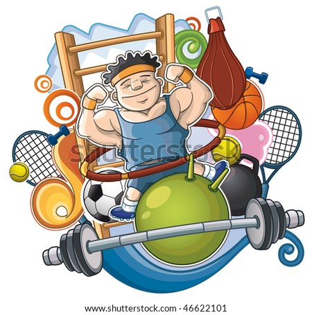Athlete is surrounded by sports projectiles. Mixed - stock vector