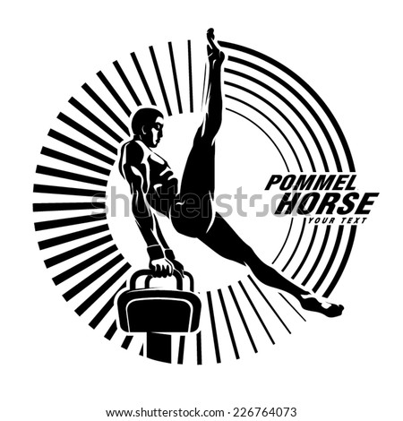 Athlete on the pommel horse. Vector illustration in the engraving style - stock vector