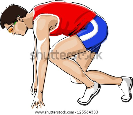Athlete Sprinting Isolated on White Background - stock vector