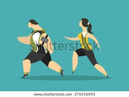 Athletes in sportswear man and woman running jogging compete - stock vector