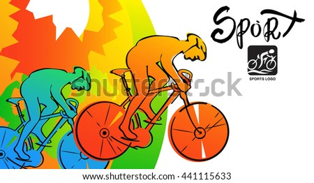 Athletes ink sketches. Cyclist sports cards, poster, illustration. - stock vector
