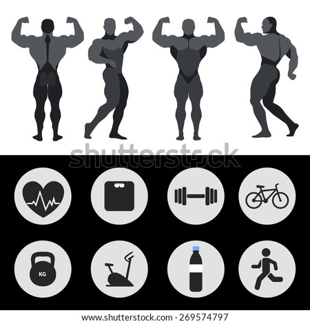 Athletes, sports icons, fitness, exercise. Vector illustration - stock vector