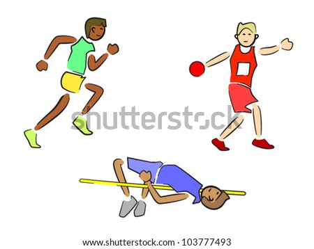 Athletes (Track and Field) - Sprinter/Runner, Discus, High Jump - stock vector