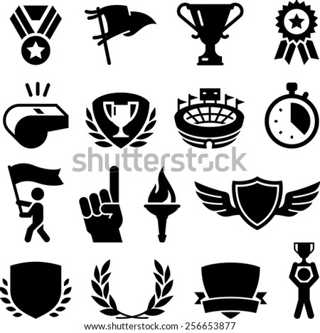 Athletic games and competition awards. Vector icons for digital and print projects. - stock vector