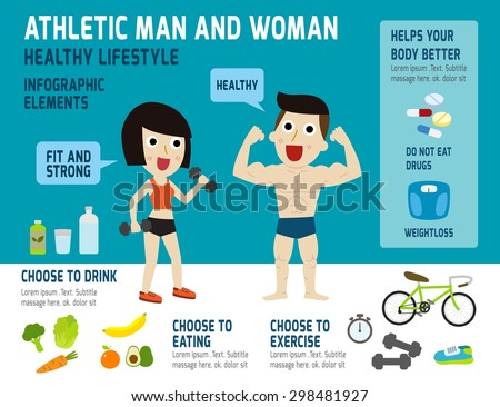 athletic man and woman,infographic elements, health concept, vector flat icons design, illustration, fitness,exercise,healthy food, - stock vector