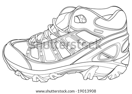 athletic shoes, technical vector illustration - stock vector