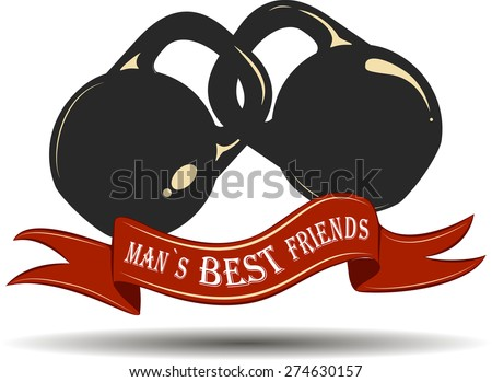 Athletic vector logo. Man`s best friends vintage sign with weight illustration. - stock vector