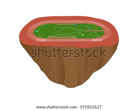 Athletics Field with Red Track Floating Island - stock vector