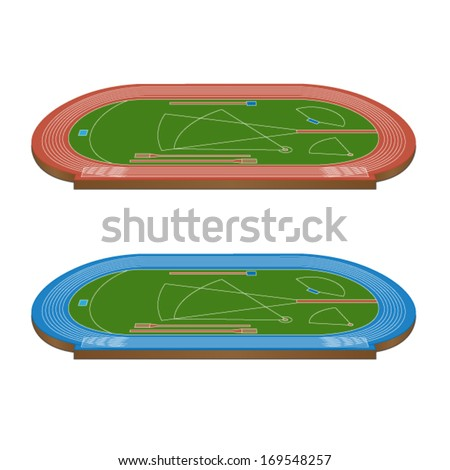 Athletics Field with Running Tracks in Red and Blue 3D Perspective - stock vector