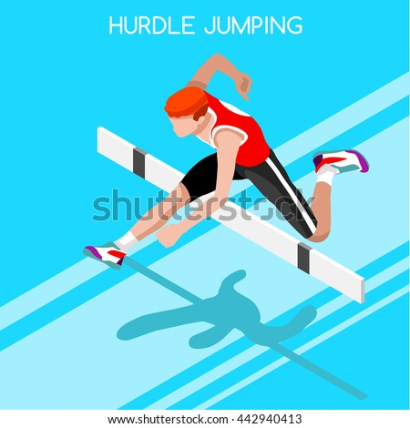 Athletics Hurdle Jumping 2016 Summer Games Icon Set.3D Isometric Athlete.Sporting Championship International Athletics Competition.Sport Infographic Athletics Hurdler Jumping olympics Vector Image. - stock vector