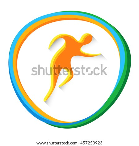 Athletics Runner Athlete Sport Game Logo Competition Icon Vector Illustration - stock vector