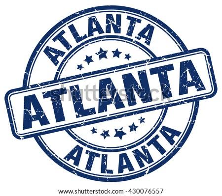 Atlanta blue grunge round vintage rubber stamp.Atlanta stamp.Atlanta round stamp.Atlanta grunge stamp.Atlanta.Atlanta vintage stamp. - stock vector