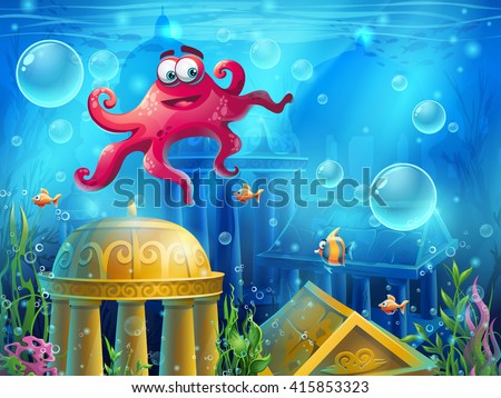 Atlantis ruins cartoon octopus - vector background  illustration screen to the computer game. Bright background image to create original video or web games, graphic design, screen savers. - stock vector