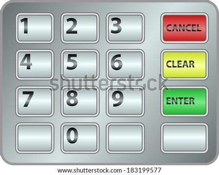 ATM keypad - stock vector