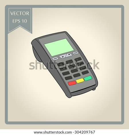 ATM keypad and POS-Terminal - simple icons  - stock vector