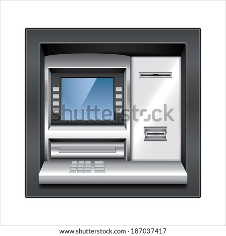 Atm machine isolated on white photo-realistic vector illustration - stock vector