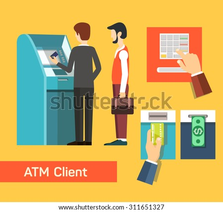 ATM machine money deposit and withdrawal. Payment using credit card. Flat icon set. EPS 10 vector. - stock vector
