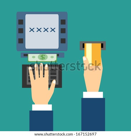 ATM, Money withdrawal - stock vector