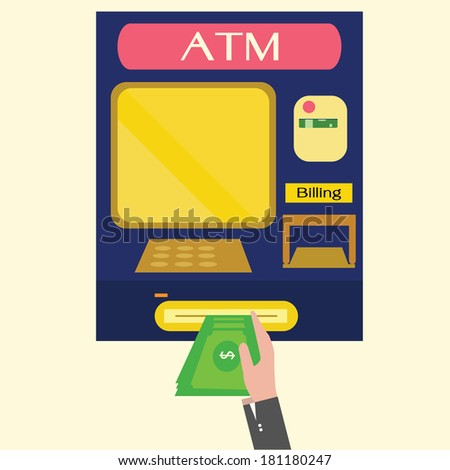ATM, Money withdrawal,machine. - stock vector