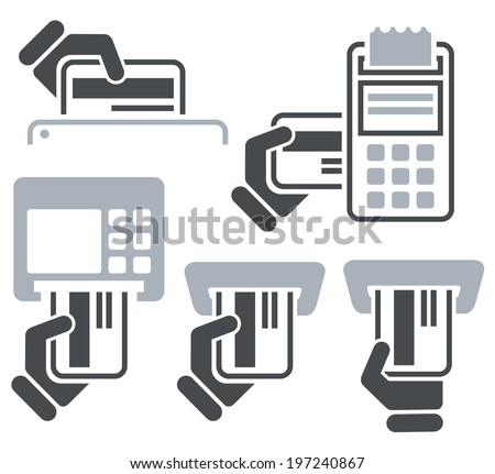ATM, POS-Terminal and hand credit card icons - stock vector