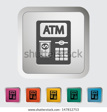 ATM. Single icon. Vector illustration. - stock vector