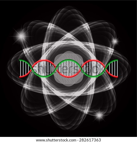 Atom black abstract nuclear structure science background. symbol vector illustration. pink green DNA - stock vector