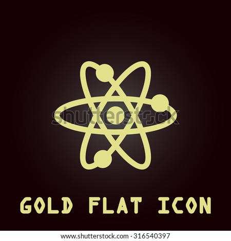 Atom. Gold flat vector icon. Symbol for web and mobile applications for use as logo, pictogram, infographic element - stock vector