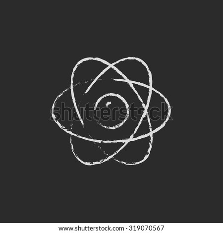 Atom hand drawn in chalk on a blackboard vector white icon isolated on a black background. - stock vector