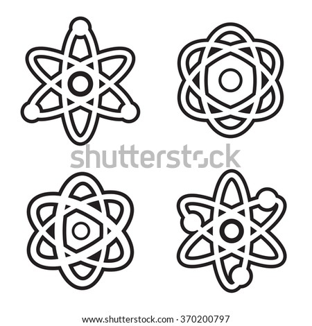 Atom icon in four variations. Vector eps 10. - stock vector