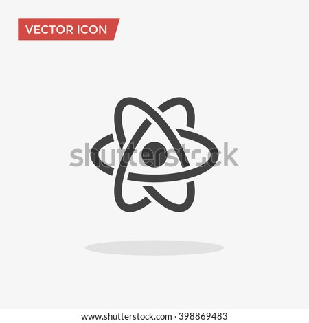 Atom Icon in trendy flat style isolated on grey background. Atom symbol for your web site design, logo, app, UI. Vector illustration, EPS10. - stock vector