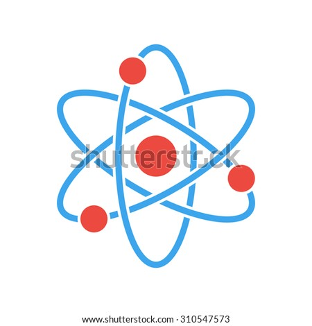 Atom icon, modern minimal flat design style. Vector illustration, science symbol - stock vector