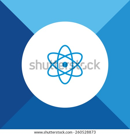 Atom Icon on Blue Background. Eps-10. - stock vector