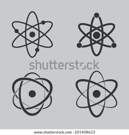 Atom icons set - stock vector