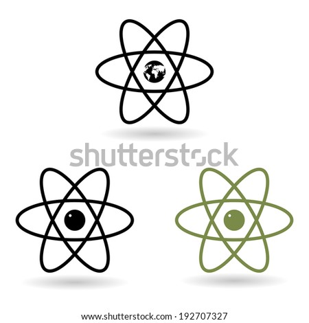 atom model icons. vector eps10 - stock vector