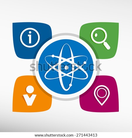 Atom molecule and icons set vector illustration. Modern Flat style. - stock vector