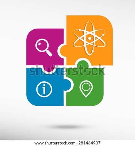Atom molecule on colorful jigsaw puzzle  - stock vector