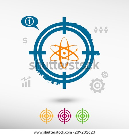 Atom molecule on target icons background. Flat illustration. - stock vector
