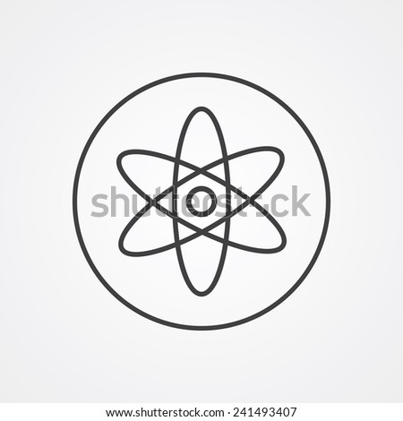 atom outline thin symbol, dark on white background, logo editable, creative template  - stock vector