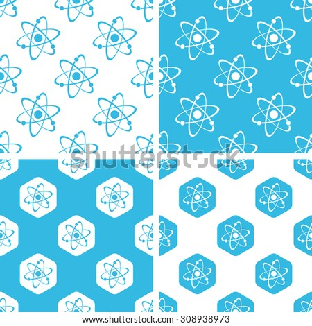Atom patterns set, simple and hexagon, blue and white - stock vector