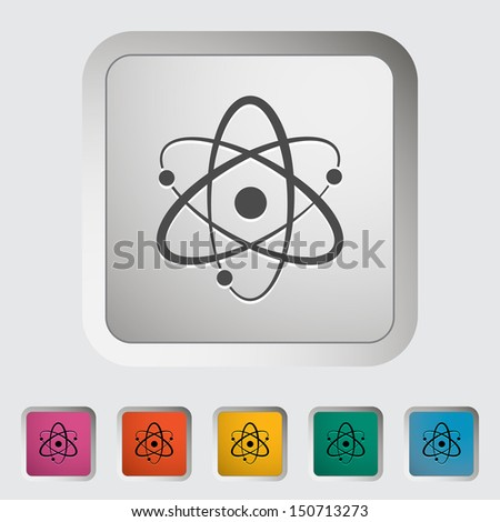 Atom. Single icon. Vector illustration. - stock vector