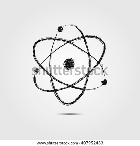 Atom sketch icon for web, mobile and infographics. Hand drawn vector dark grey simbol isolated on light grey background. - stock vector