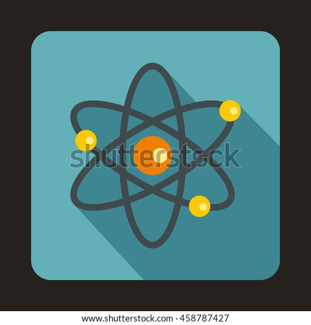 Atom with electrons icon in flat style on a baby blue background - stock vector