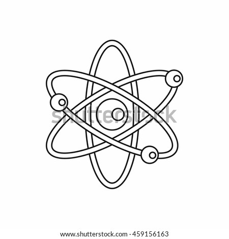 Atom with electrons icon in outline style on a white background - stock vector
