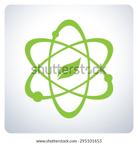 Atom with nature Science. Environmental Protection. Icon symbol logo design. Vector illustration. - stock vector