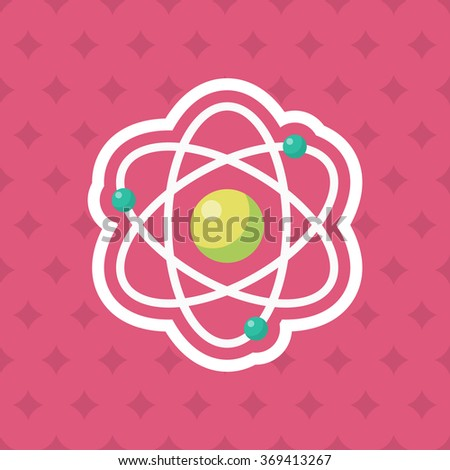 Atomic and science icon , Vector flat long shadow design. In education concept. - stock vector