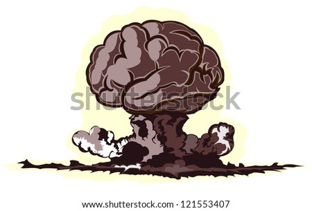 atomic explosion in form of brain - stock vector
