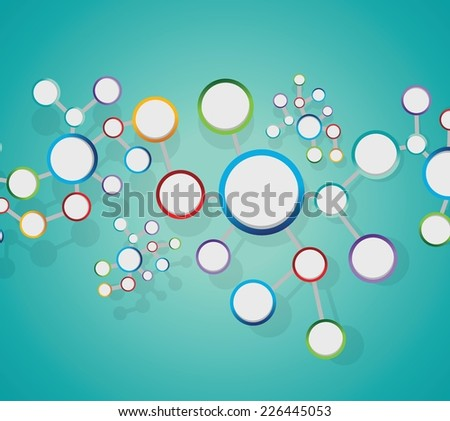 atoms diagram link network connection illustration design over a light green background - stock vector