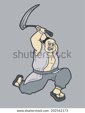 Attack farmer - stock vector
