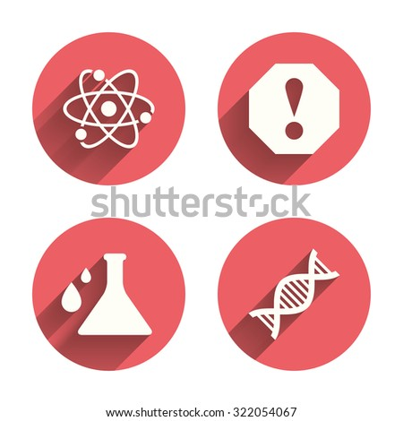 Attention and DNA icons. Chemistry flask sign. Atom symbol. Pink circles flat buttons with shadow. Vector - stock vector