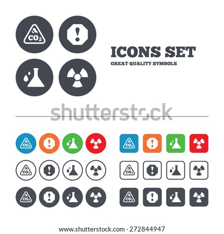 Attention and radiation icons. Chemistry flask sign. CO2 carbon dioxide symbol. Web buttons set. Circles and squares templates. Vector - stock vector